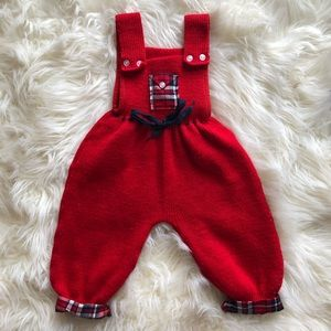 Other - Vintage handmade Knitted Overalls 6-12 Months red